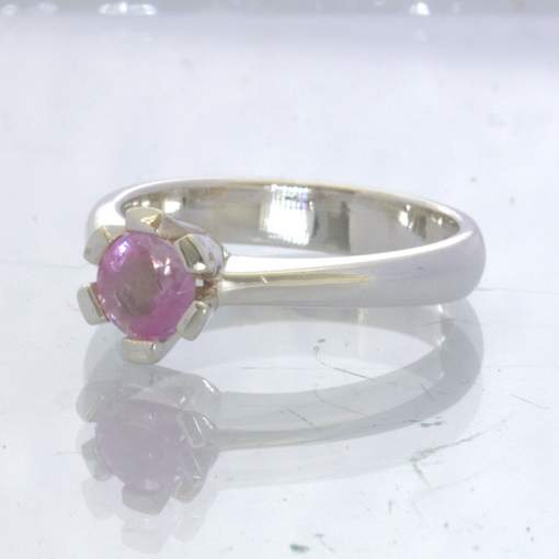 Pink Burma Sapphire Unheated 925 Solitaire Ring Size 6.5 Engagement Design 189