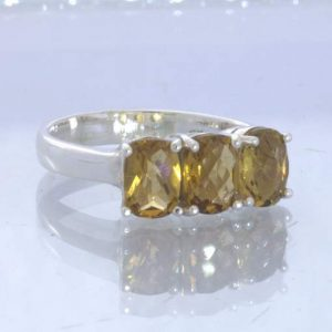 Yellow Brown Brazil Citrine 925 Silver Ladies Three Stone Ring Size 8 Design 666