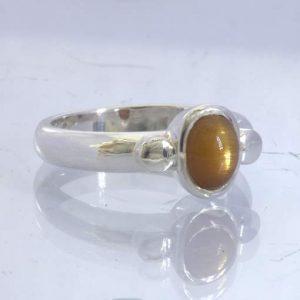 Confetti Sunstone Cross Oval Cabochon 925 Ring size 9.25 Solitaire Design 169