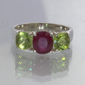 Natural Red Ruby Green Peridot 925 Silver Three Stone Ring Size 8.75 Design 177