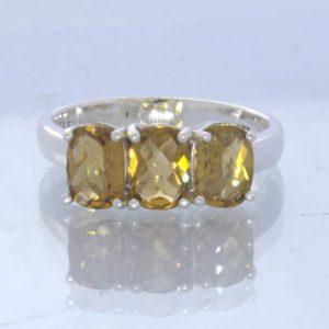 Yellow Brown Brazil Citrine 925 Silver Ladies Three Stone Ring Size 8 Design 666