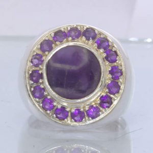 Purple Burmese Amethyst Agate Amethyst Halo 925 Gents Ring size 10.5 Design 52
