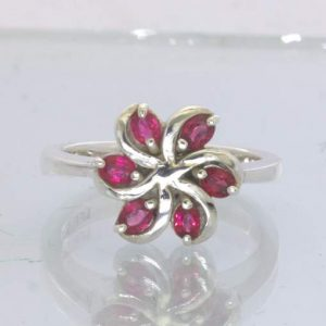 Red Sapphire Six Oval Ruby Gemstone 925 Silver Pinwheel Ring Size 7.5 Design 188
