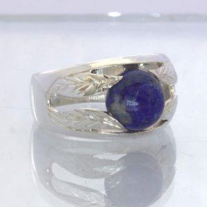 Blue Lapis Lazuli Afghanistan Cabochon 925 Silver Ring size 9 Leaf Design 713