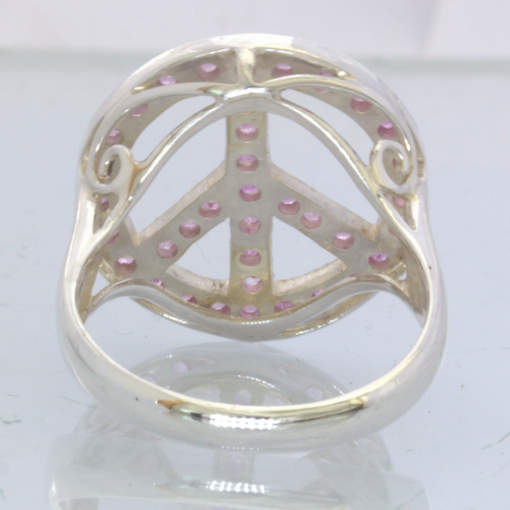 Peace Sign Pink Sapphire Rounds 925 Silver Ring Size 9.25 Filigree Design 391