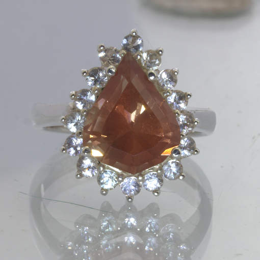 Orange Oregon Sunstone Pear White Sapphire 925 Ring Size 8.5 Halo Design 415