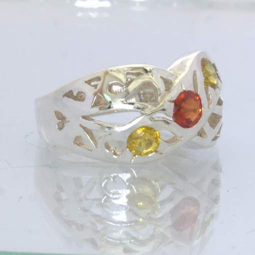 Red Orange Yellow Sapphire 925 Silver Ring Size 7.5 Ajoure Wide Woven Design 665