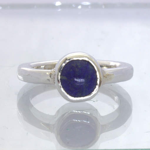 Blue Lapis Lazuli Cabochon 925 Silver Ring size 9.25 Rugged Hammered Design 168