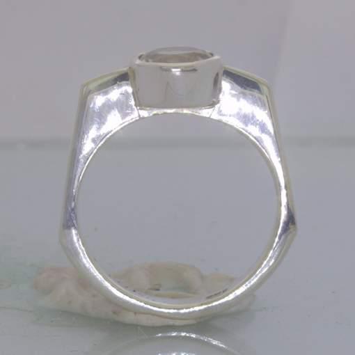 Clear White Cambodia Topaz 925 Silver Ring Size 7.5 Solitaire Square Design 344