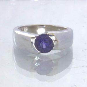 Blue Violet Iolite Gemstone 925 Silver Unisex Ring size 5.5 Offset Design 198