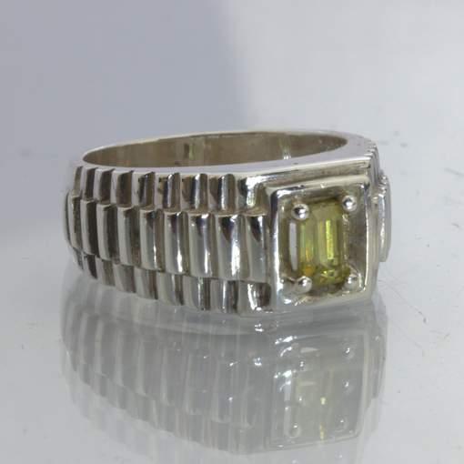 Yellow Mali Garnet Gemstone Silver Watchband Style Gents Ring size 6 Design 211