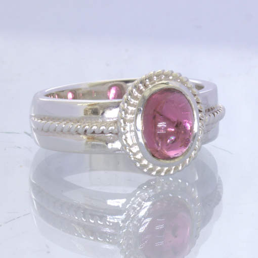 Purple Pink Burma Spinel Cabochon Sterling Filigree Ring Size 8.75 Design 170