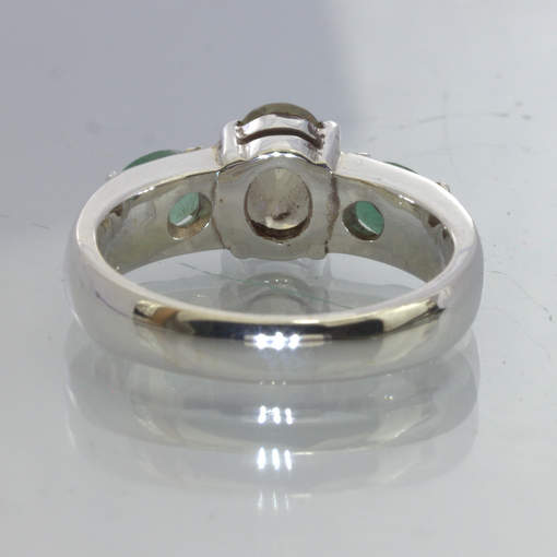 Yellow Cambodia Zircon Green Zambia Emerald 925 Silver Ring Size 8.5 Design 49