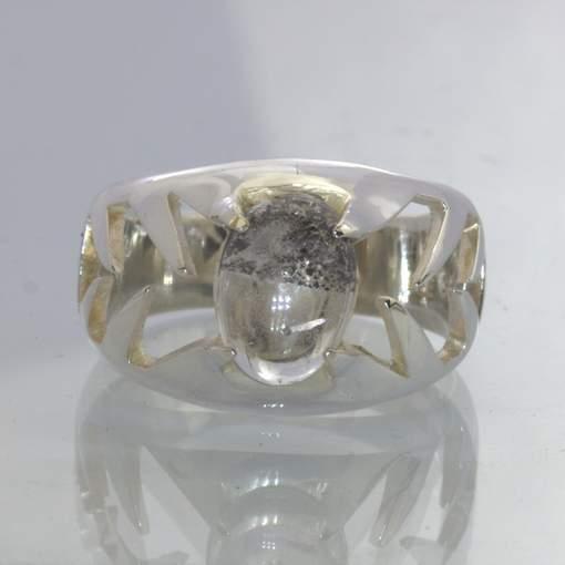 Bi Color Super 7 Quartz Brazil Oval Gem 925 Silver Ring size 8.25 Design 402