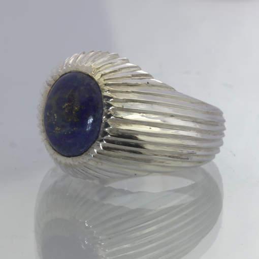 Blue Lapis Lazuli Afghanistan Gem 925 Groovy Ring size 8.75 Grooves Design 59