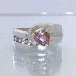 Pink Burma Spinel Pear White Ceylon Sapphire 925 Silver Ring size 6.75 Design 5