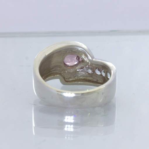 Pink Burma Spinel Pear White Ceylon Sapphire 925 Silver Ring size 6.75 Design 5