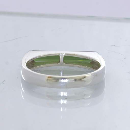 Green Tourmaline Solitaire 925 Silver Ring Size 9.25 Unisex Stacking Design 2