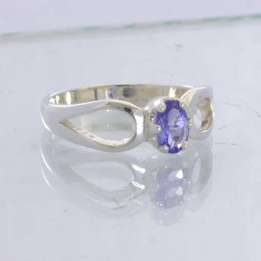 Blue Purple Tanzanite Oval 925 Silver Ring Size 7.25 Ajoure Stacking Design 532