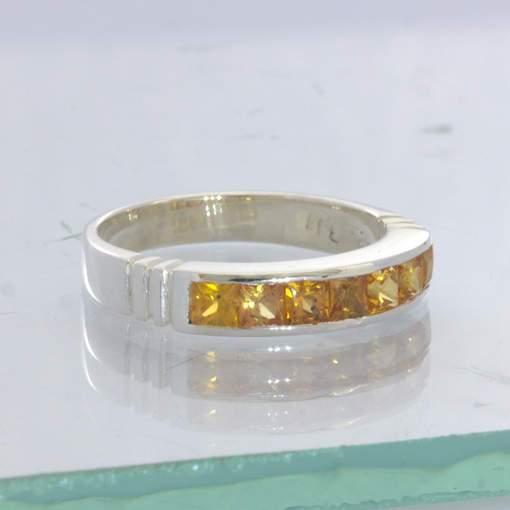 Fanta Orange Sapphire 2.7 mm Princess Square 925 Ring Size 7 Channel Design 6