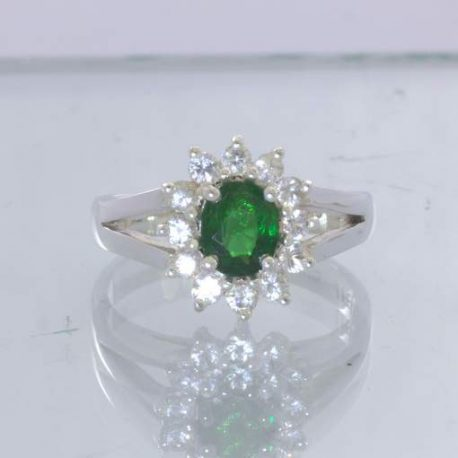 Chrome Green Tourmaline Oval White Sapphire Halo 925 Ring Size 6.25 Design 54