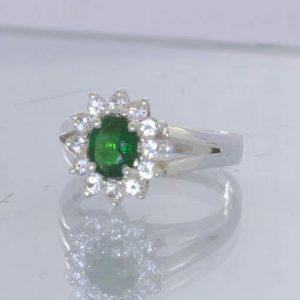 Chrome Green Tourmaline Oval White Sapphire Halo 925 Ring Size 6.25 Design 54