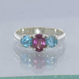 Rubellite Pink Tourmaline Oval Sky Blue Zircon Rounds 925 Ring Size 7 Design 49