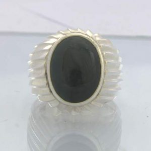 Black Tourmaline Schorl Oval Cabochon 925 Sterling Ring Size 10 Gents Design 400