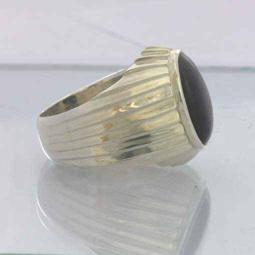 Black Tourmaline Schorl Oval Cabochon 925 Sterling Ring Size 10 Gents Design 400
