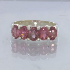 Rubellite Pink Tourmaline Sterling Ring Size 7.75 Oval Gemstone Suite Design 181