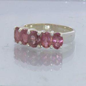 Rubellite Pink Tourmaline Sterling Ring Size 7.75 Oval Gemstone Suite Design 181