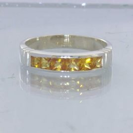 Yellow Orange Sapphire 3mm Square Gems Sterling Ring Size 10 Channel Design 6