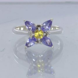 Blue Tanzanite Yellow Sapphire 925 Sterling Floral Ring Size 6 Flower Design 424