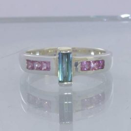 Indicolite Blue Green Tourmaline Pink Sapphire Sterling Ring Size 7.5 Design 654