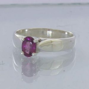 Red Pink Purple Rubellite Tourmaline Oval 925 Ring Size 7.5 Stacking Design 121