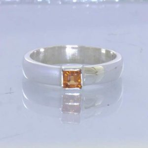 Fanta Orange Spessartite Garnet Square 925 Ring Size 5.75 Stacking Design 530