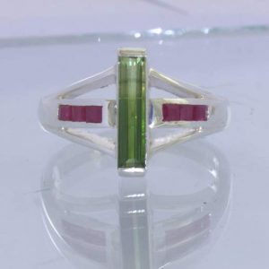 Bi Color Green Yellow Tourmaline Red Ruby 925 Statement Ring Size 10 Design 500