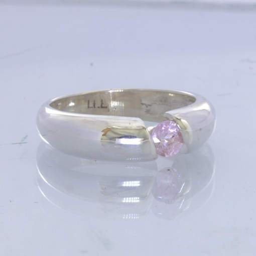 Pink Sapphire Round Ceylon Solitaire Sterling Ring size 6.25 Tension Design 343