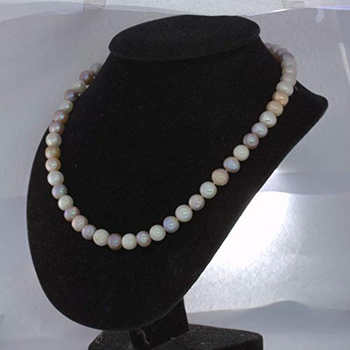 Pearl Necklace Cultured 10 mm Pink Purple White Knotted Silk Silver Hook 20 Inch