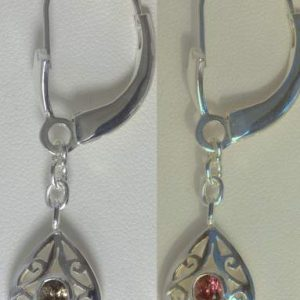 Color Change Garnet Earrings Sterling Dangle Chain Ajoure Filigree Design 291