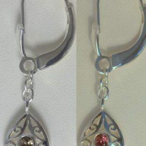 Color Change Garnet Earrings Sterling Dangle Chain Ajoure Filigree Design 291