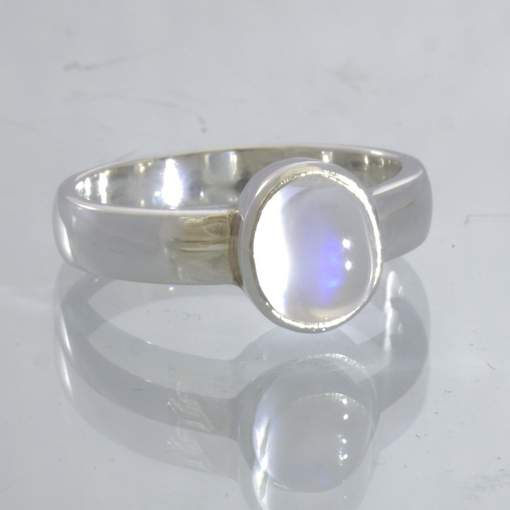 Moonstone White Blue Cabochon Sterling Silver Ring Stacking Solitaire Design 530