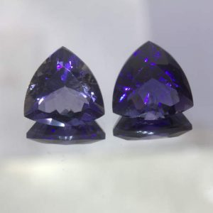 Pair Blue Purple Iolite Untreated 11 mm Trillion Cut India Gems 5.91 Total Carat