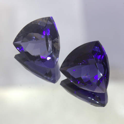 Pair Blue Purple Iolite Untreated 11 mm Trillion Cut India Gems 5.91 Total Carat