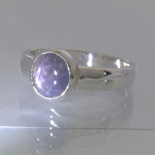 Star Sapphire Burma Purple Gray Gem 925 Sterling Ring Size 9 Stacking Design 530