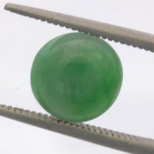 Green Jade A Grade Untreated Burma Jadeite 9.25 mm Round Cabochon 3.11 carat