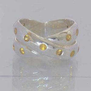 Yellow Orange Sapphire Round Gemstones 925 Ring Size 6 Double Band Design 157
