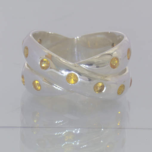 Yellow Orange Sapphire Round Gemstones 925 Ring Size 6 Double Band Design 157