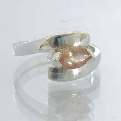 Oregon Sunstone Peach Orange Marquise 925 Ring Size 7.75 Solitaire Design 216