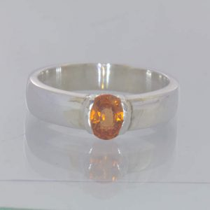Fanta Orange Spessartite Garnet Oval 925 Ring Size 8.25 Solitaire Design 418